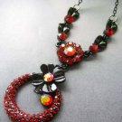 Acrylic Diamond Alloy Metal Flower Pendant Necklace 30mm*30mm  T1853