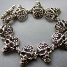 Alloy Metal Skull-Head Beads Bracelet  T1863