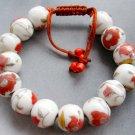 Porcelain Flower Leaf Beads Bracelet  T1872