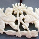 Ox Bone Carved Two Prosperous Fishes Lotus-Root Pendant 50mm*38mm  T1917