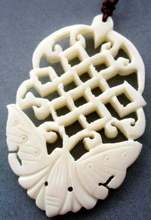 Ox Bone Carved Butterfly Pendant 48mm*33mm  T1918
