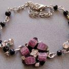 Acrylic Diamond Alloy Metal Flower Bead Beads Bracelet  T1952