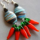Pair Of Peacock Stone Lampwork Glass Capsicum Earrings 45mm*15mm  T1979