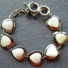 Natural Sea Shell Alloy Metal Heart Beads Bracelet  T1983