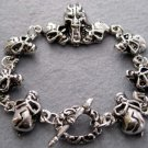 Alloy Metal Skull Beads Bracelet  T1984