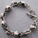 Alloy Metal Skull Beads Bracelet  T1986