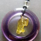 Yellow Purple Crystal Quartz Circle Dolphin Pendant 30mm*30mm  T2043