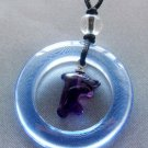 Blue Purple Crystal Quartz Circle Dolphind Pendant 30mm*30mm  T2044