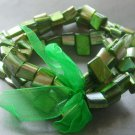 Green Veins Sea Shell Beads Bracelet  T2052