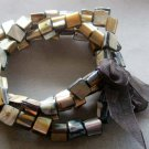 Brown Veins Sea Shell Beads Bracelet  T2055