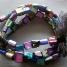 Multi-Color Veins Sea Shell Beads Bracelet  T2056