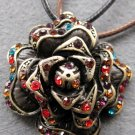 Multi-Color Acrylic Diamond Alloy Metal Flower Pendant 35mm*35mm  T2101