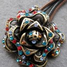 Multi-Color Acrylic Diamond Alloy Metal Flower Pendant 35mm*35mm  T2102