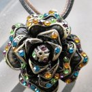 Multi-Color Acrylic Diamond Alloy Metal Flower Pendant 35mm*35mm  T2103