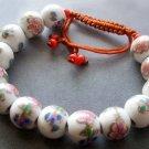 12mm Hand Crafted Porcelain Flower Leaf Beads Bracelet  T2124