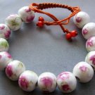 12mm Hand Crafted Porcelain Flower Leaf Beads Bracelet  T2126