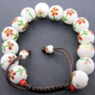12mm Porcelain Flower Leaf Beads Bracelet  T2139