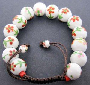 12mm Porcelain Flower Leaf Beads Bracelet  T2139