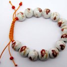 12mm Porcelain Flower Leaf Beads Bracelet  T2140