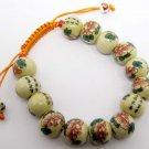 12mm Porcelain Calligraphy Word Flower Leaf Beads Bracelet  T2142