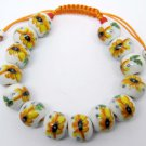 12mm Porcelain Flower Leaf Beads Bracelet  T2144