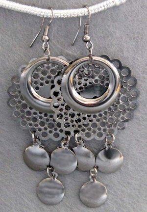 Pair Of Alloy Metal Earrings 63mm*35mm  T2158