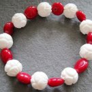 White Tridacna Shell Flower And Red Coral Beads Bracelet  T2160