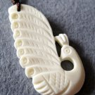 Ox Bone Carved Peacock Pendant 42mm*22mm  T2195