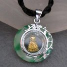 Jade Alloy Metal Tibet Buddhist Mercy Kwan-Yin Amulet Pendant 20mm*20mm  T2247