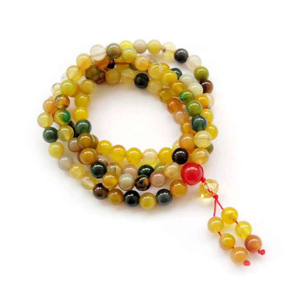Tibet Buddhist 108 Agate Gem Beads Prayer Mala Necklace  6mm  ZZ031
