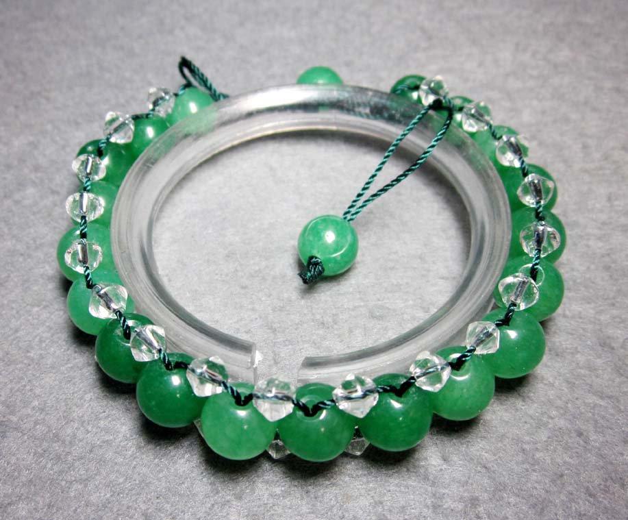Green Jade And Crystal Quartz Beads Bracelet  T2286