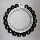 Black Green Jade Beads Bracelet  T2289