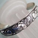 Alloy Metal Twin Prosperous Fishes Flower Bangle Bracelet  T2305