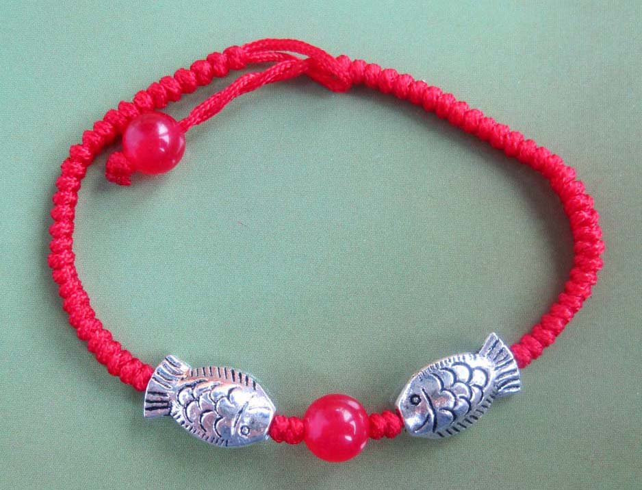 Alloy Metal Twin Fishes Red Jade Beads Bracelet  T2310