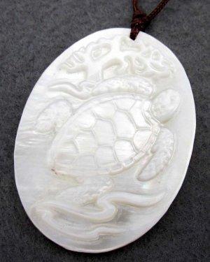 Natural Sea Shell Longevity Turtle Pendant 40mm*30mm  T2347