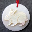 Natural Sea Shell Zodiac Long Ear Rabbit Amulet Pendant 25mm*25mm  T2349