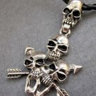 Alloy Metal Four Skulls Two Arrows Pendant 72mm*45mm  T2357