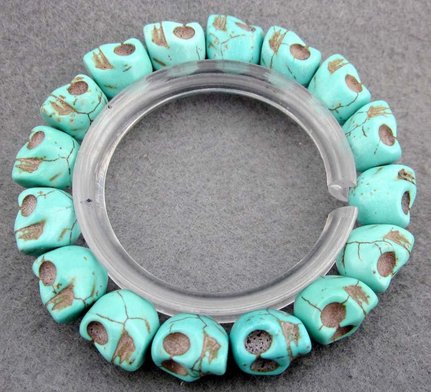 Blue Turquoise Carved Skull-Head Beads Bracelet  T2360