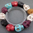 Multi-Color Turquoise Gem Carved Skull-Head Beads Bracelet  T2361