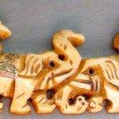 Ox Bone Carved Four Long Nose Elephant Pendant 100mm*30mm  T2380