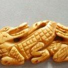 Ox Bone Carved Four Crocodile Pendant 90mm*23mm  T2382