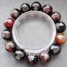 14mm Dream Agate Gem FO Lotus Beads Tibet Buddhist Bracelet  T2397