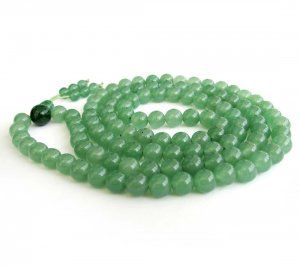 8mm 108 Green Ayenturine Dong-Ling Jade Beads Tibet Buddhist Prayer Mala Necklace  ZZ181