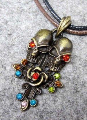 Acrylic Diamond Alloy Metal Twin Skulls Pendant 38mm*24mm  T2401