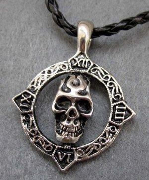 Alloy Metal Skull-Head Pendant 34mm*34mm  T2405