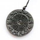 Black Green Jade 12 Zodiac Animals Tai-Ji 8-Diagram Amulet Pendant 50mm*50mm  TH157