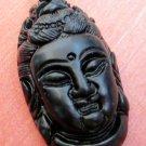Black Green Jade Tibet Buddhist Mercy Kwan-Yin Buddha Head Amulet Pendant 42mm*23mm  TH005
