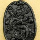 Black Green Jade Zodiac Dragon Amulet Pendant 47mm*33mm  TH012