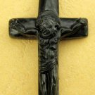 Black Green Jade Christian Crucifix Cross Jesus Pendant 45mm*26mm  TH018