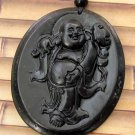 Black Green Jade Tibet Buddhist Standing Buddha Amulet Pendant 51mm*41mm  TH026